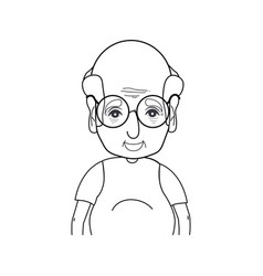 Line old man with hairstyle and casual clothes vector