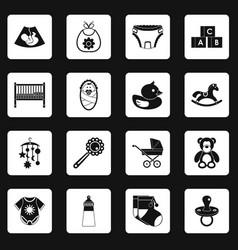 Newborn icons set squares vector