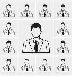 out line business man icons set vector image vector image