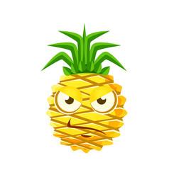 sceptic pineapple face cute cartoon emoji vector image vector image