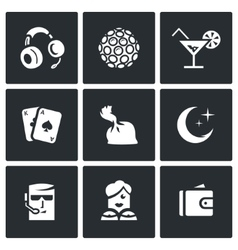 Set of Night Club Icons Music Lighting vector image vector image