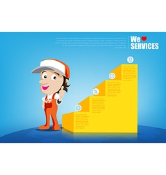 Smile and thumb up mechanic man cartoon for design vector