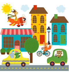 Transport with animals in city vector