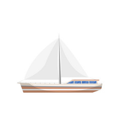 Vintage sail yacht side view isolated icon vector