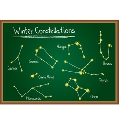 Winter constellations on chalkboard vector
