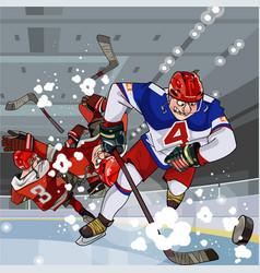Funny cartoon hockey players play hockey vector
