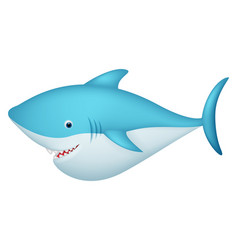 cute shark cartoon character vector image