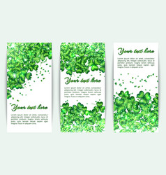 Set banners st patricks day with glitter vector