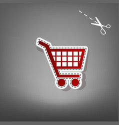 Shopping cart sign  red icon with for vector