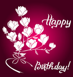 Magnolia frame for birthday greeting card vector