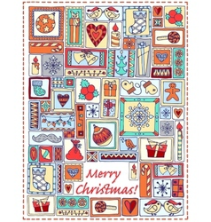 Geometric christmas doodle hand drawn pattern vector