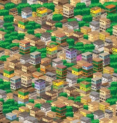 A town surrounded by plants vector