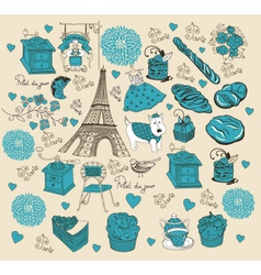 paris elements background vector image