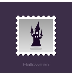 Halloween witch castle silhouette stamp vector