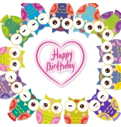 Happy birthday funny colorful owls on white vector