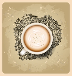 Coffee latte on background planet earth travel vector