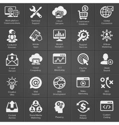 SEO and Development icon set on black vector image