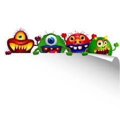 Monster cartoon with blank sign vector image