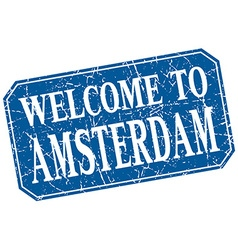Welcome to amsterdam blue square grunge stamp vector