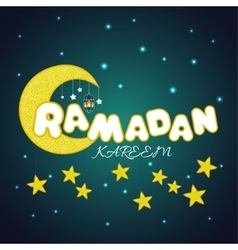 Creative card with stars and moon for islamic vector