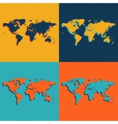 Color world maps flat style vector