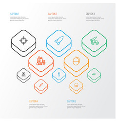 battle outline icons set collection of bombshell vector image vector image