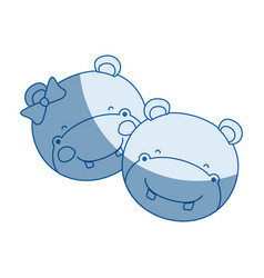 Blue color shading silhouette faces of hippo vector