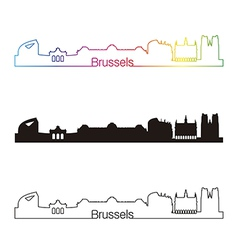 Brussels skyline linear style with rainbow vector image