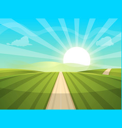 cartoon landscape sun road cloud vector image vector image