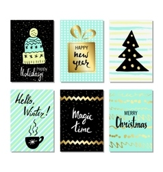 Christmas and happy new year greeting cards with vector