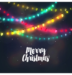 Christmas background with colorful light garlands vector