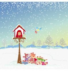 Christmas greeting robin birds vector