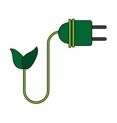 color image cartoon green plug electricity vector image vector image