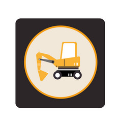 Excavator vehicle isolated icon vector