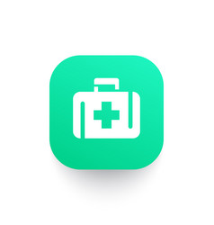 First aid kit icon medicine chest symbol vector