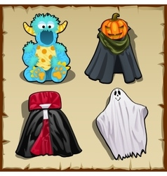 Four fancy costume for other theme parties vector image vector image