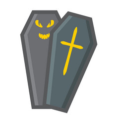 halloween coffin filled outline icon halloween vector image