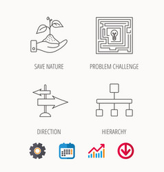Hierarchy save nature and direction arrow icon vector