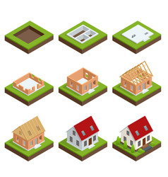 isometric set stage-by-stage construction of a vector image