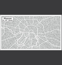 Moscow map in retro style hand drawn vector