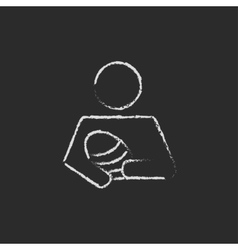 Nurse holding the baby icon drawn in chalk vector