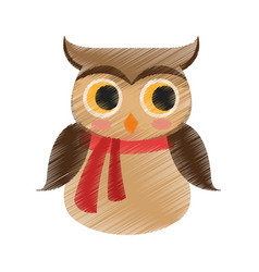 Owl with scarf icon image vector