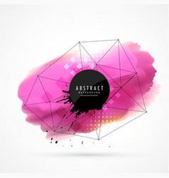 Pink watercolor stain with wire mesh vector
