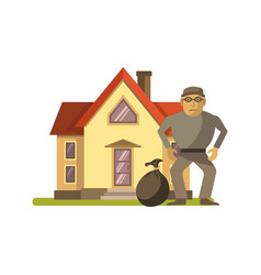 Robber at the house vector