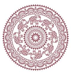 Round mehndi indian henna brown tattoo pattern vector