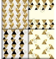 Set of 4 black gold glitter seamless patterns vector