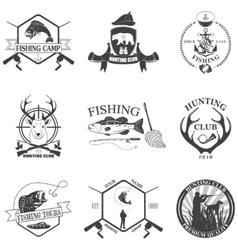 Set of vintage labels on hunting vector image