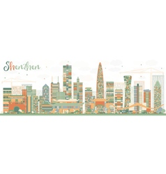 Shenzhen skyline with color buildings vector
