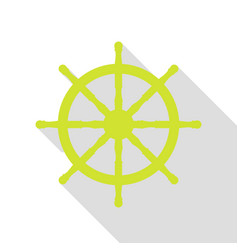 Ship wheel sign pear icon with flat style shadow vector