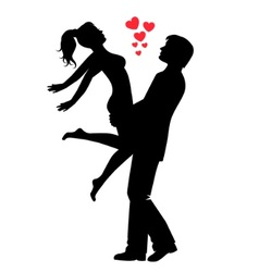 silhouette of a happy loving couple vector image vector image